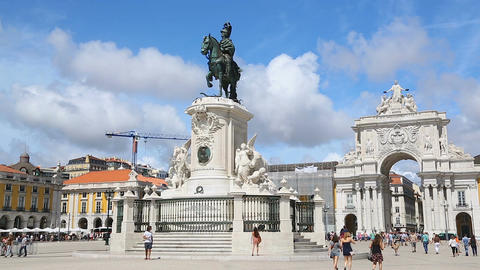 Statue of King Joseph I against Arch of August Street at Commerce Square, Lisbon Live Action