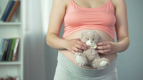 Tender emotions of pregnant woman hugging soft teddy bear, anticipation of baby Footage
