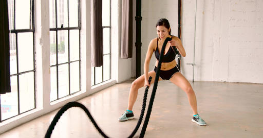 Athletic Woman Workout Crossfit Slow-Motion Filmmaterial