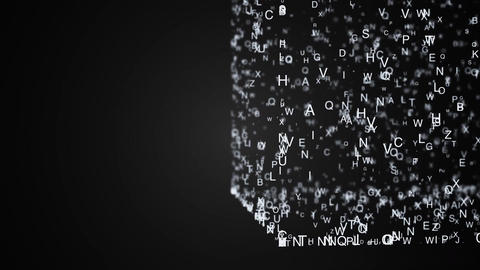Abstract composition from chaotic moving letters are placed in a shape and cast Animation