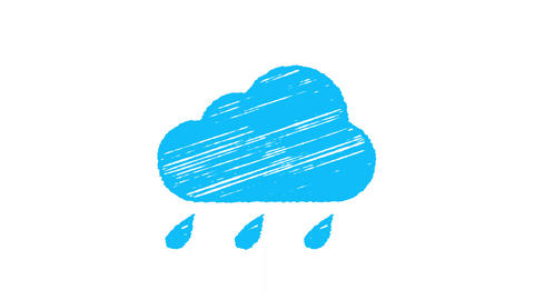 weather icon rain, blue cloud with drops painted with... Stock Video Footage