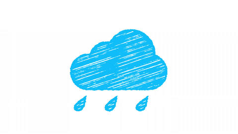 weather icon rain, blue cloud with drops painted with chalk 4K Animation