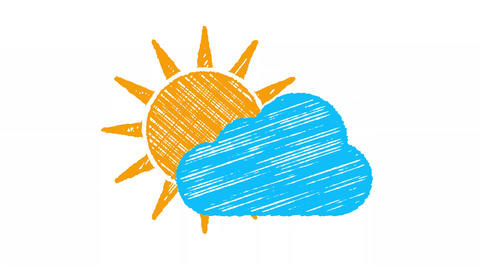 weather icon cloudy, sun and blue cloud painted with chalk 4K Animation