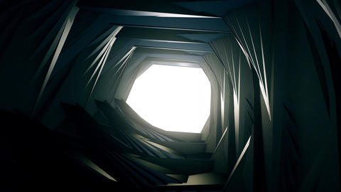 3D render, flying in a industrial tunnel abstract tunnel of metal structure 4K CG動画素材