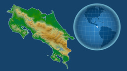 Costa Rica and Globe. Bumps shaded Animation