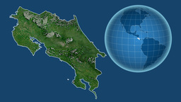 Costa Rica and Globe. Satellite Animation