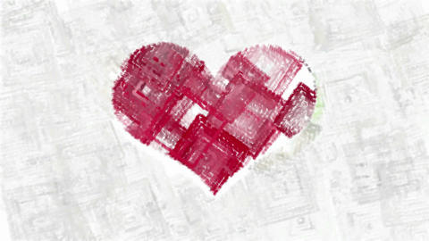 Abstract animated squares forms red heart Animation