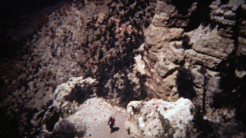 1972: Kaibab hiking trail sign to the bottom of Grand Canyon Footage