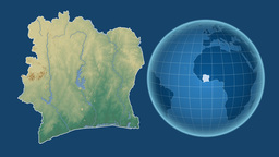 Cote d'Ivoire and Globe. Relief Animation