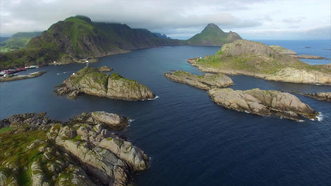 Fishing village Mortsund on Lofoten islands in Norway, aerial view Footage