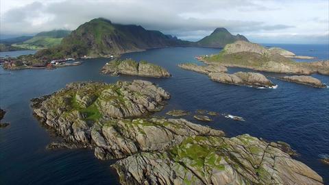 Rocky islands on Lofoten islands in Norway near Mortsund, aerial Footage