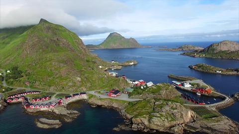 Tourist resort of Mortsund on Lofoten islands in Norway, aerial view Footage