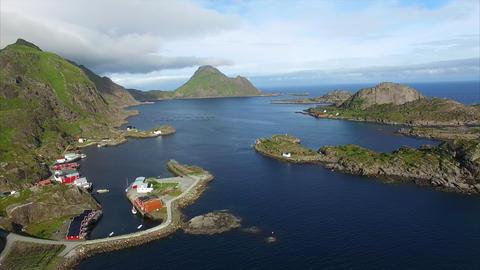 Village of Mortsund on Lofoten islands in Norway, aerial view Footage