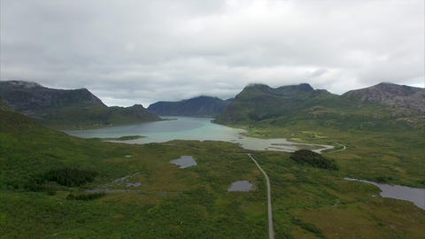 Flying on cloudy day on Lofoten Footage