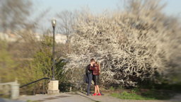A girl and a guy on a date in the Park in the spring near... Stock Video Footage
