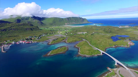 Roads on Lofoten islands, aerial footage Footage