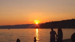 Sunset on Ohrid Lake Footage
