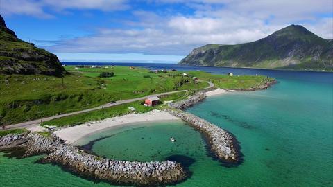 Romantic harbor on Lofoten islands in Norway Footage