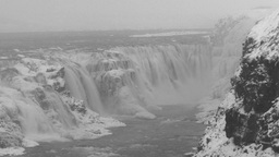 Gulfoss in Iceland winter landscape Footage