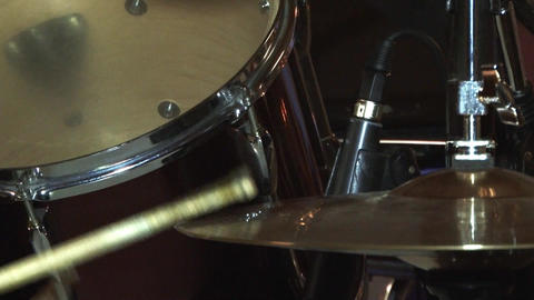Bassist Beat With Sticks On A Drum During A Music Concert 03 stock footage