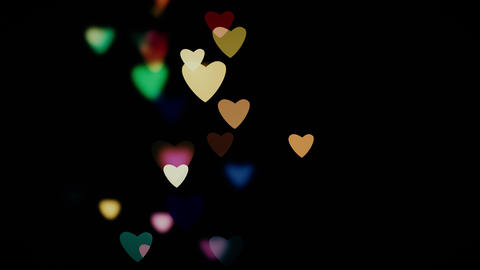 Abstract colourful bokeh with hearts 4K Animation