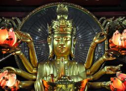 Small shrine devoted to Avalokitesvara Boddhisatva. One Pillar p Foto