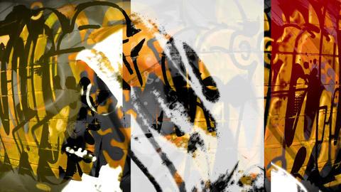 White Gas Mask Orange Graffiti Mix Footage