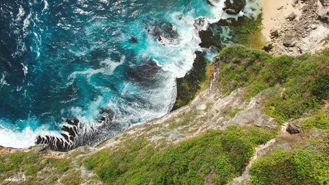 Top view aerial footage of coastline cliffs Footage