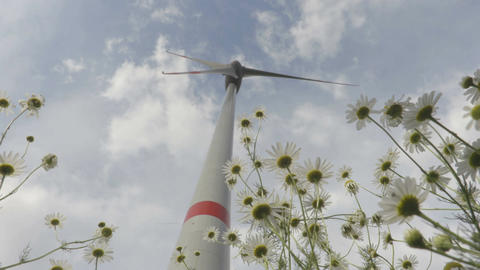 Wind turbine in motion view view from below Footage