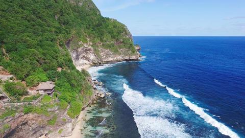 Aerial footage of rocky coastline Footage