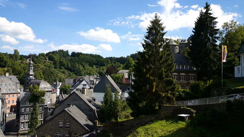 Timber frame houses in Monschau, Germany Footage
