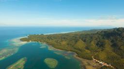 Aerial view tropical lagoon,sea, beach. Tropical island. Bohol, Philippines Footage