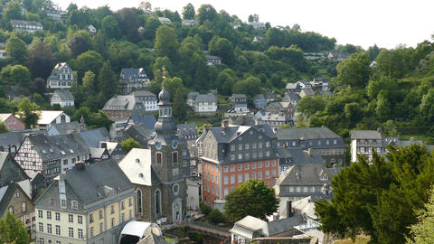 Overview of Timber frame houses in Monschau, Germany Live Action
