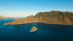 Aerial view tropical lagoon,sea, beach. Tropical island. Busuanga, Palawan, Phil Footage