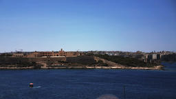 The Valletta skyline as seen from the see. Malta Footage
