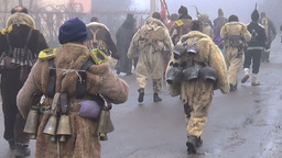 Bulgarian mummers dance on Surva ritual Footage