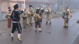 Bulgarian mummers dance on Surva ritual Footage