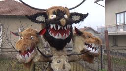 Kuker Bulgarian mummers' mask on Surva celebration Footage