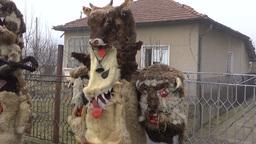 Bulgarian mummers' masks on Surva celebration Footage