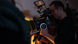 The cameraman on the film works with a professional camera Footage