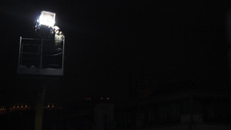 The Illuminator On The Crane For A Film Night stock footage