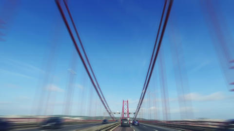 Speedy Driving on a 25 de Abril Bridge in Lisbon Footage