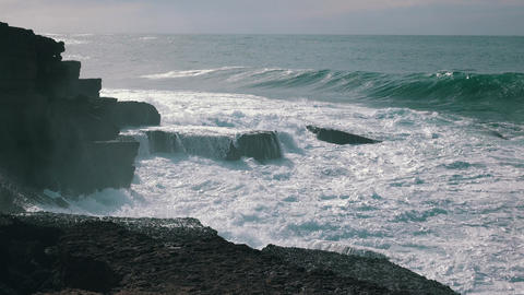 Ocean Waves Breaking on Rock Ericeira Footage