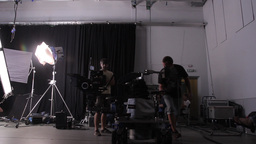 Filming in the Studio on the move, a trolley Dolly Footage