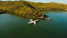 Seaplane in the bay. Busuanga, Palawan, Philippines Footage