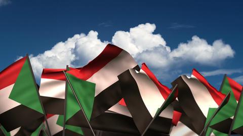 Waving Sudanese Flags Animation