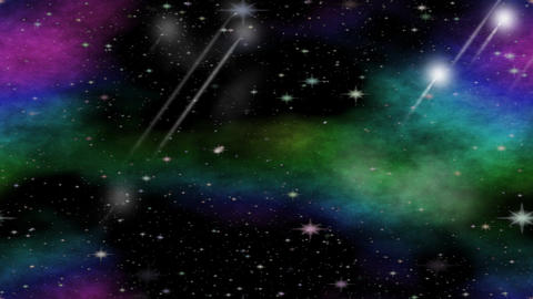 Meteorites flying through the universe with multicolored nebula group, video ani Image