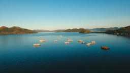 Tropical sea bay with boats. Aerial view: Seascape Busuanga, Palawan, Philippine Footage