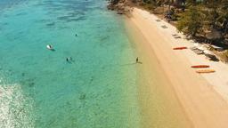 Aerial view beautiful beach on a tropical island. Coron, Palawan, Philippines Footage