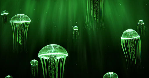 Jellyfish Swimming in Deep Sea 4k Loop Green Color Scheme Animation